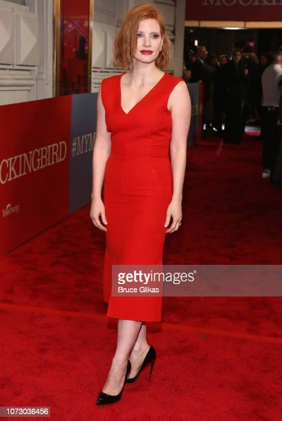 Jessica Chastain poses at the opening night of the hit play To Kill a Mockingbird on Broadway at The Shubert Theatre on December 13 2018 in New York...