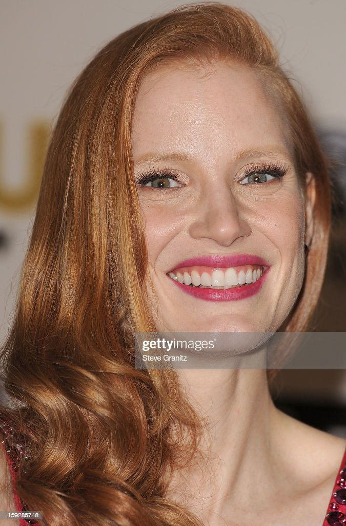 Jessica Chastain poses at the18th Annual Critics' Choice Movie Awards at The Barker Hanger on January 10, 2013 in Santa Monica, California.