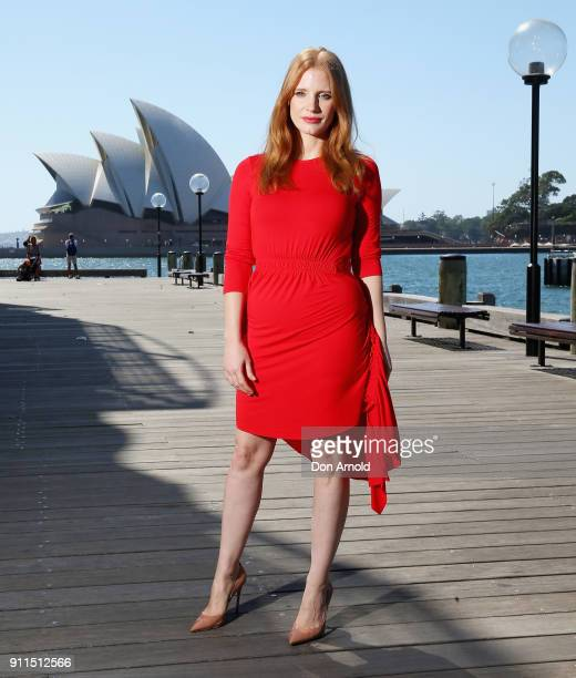 Jessica Chastain poses during a photo call for 'Molly's Game' on January 29 2018 in Sydney Australia