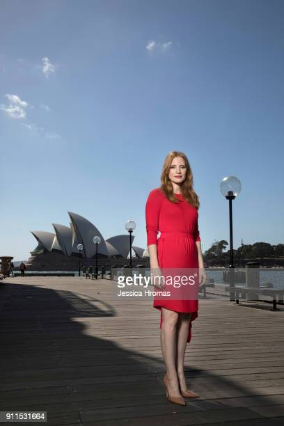 Jessica Chastain poses during a photo call for 'Molly's Game' on the broadwalk by the Park Hyatt hotel on January 29 2018 in Sydney Australia