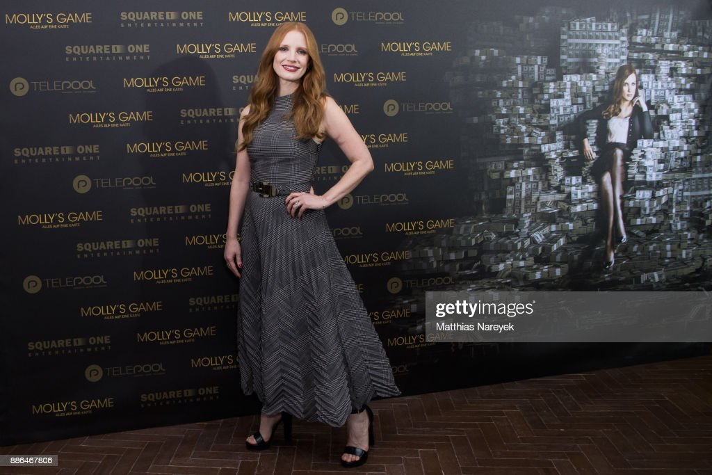 Jessica Chastain poses during the photo call of 'Molly's Game' at Soho House on December 5, 2017 in Berlin, Germany.