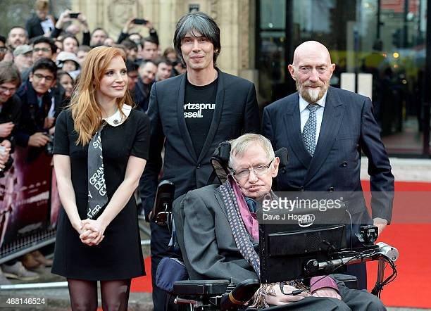 Jessica Chastain Prof Brian Cox Prof Stephen Hawking and Dr Kip Thorne attend Interstellar Live at Royal Albert Hall on March 30 2015 in London...