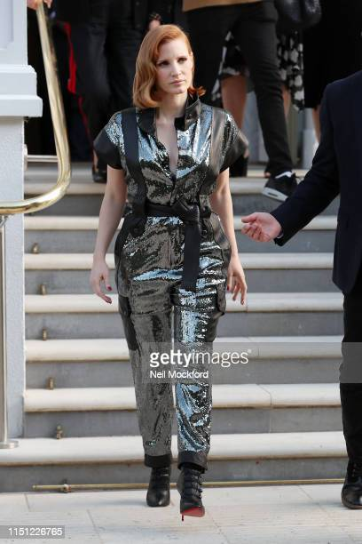 Jessica Chastain seen leaving her hotel whilst promoting X-Men Dark Phoenix on May 23, 2019 in London, England.