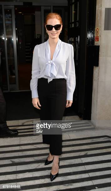 Jessica Chastain sighting at BBC Radio 2 on May 5 2017 in London England