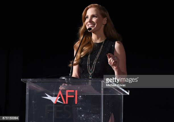 Jessica Chastain speaks onstage at the screening of 'Molly's Game' at the Closing Night Gala at AFI FEST 2017 Presented By Audi at TCL Chinese...