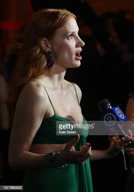 Jessica Chastain speaks to the media ahead of the Chopard Trophy dinner during the 74th annual Cannes Film Festival on July 09, 2021 in Cannes,...