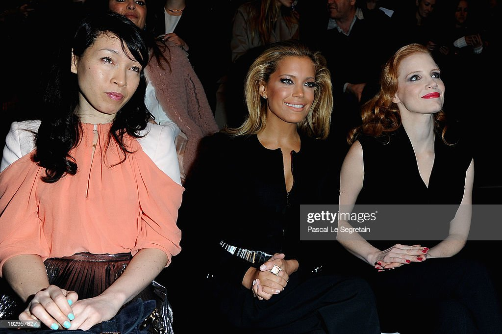 Jessica Chastain, Sylvia Van Der Vaart and Yukimi Nagano attend the front row at the Viktor&Rolf Fall/Winter 2013 Ready-to-Wear show as part of Paris Fashion Week on March 2, 2013 in Paris, France.