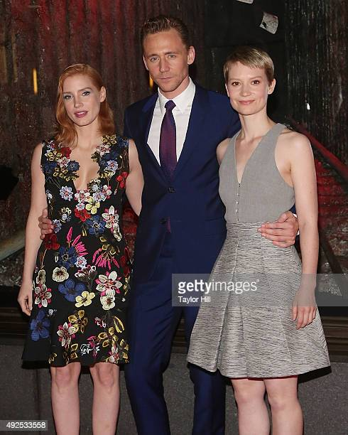Jessica Chastain Tom Hiddleston and Mia Wasikowska attend a celebration of Bergdorf Goodman Windows inspired by the Legendary Pictures and Universal...