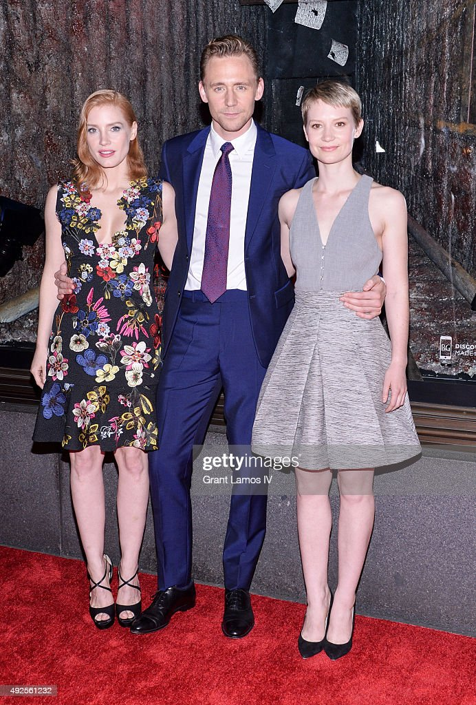 Jessica Chastain, Tom Hiddleston, and Mia Wasikowska attend the Bergdorf Goodman 'Crimson Peak' inspired window unveiling at Bergdorf Goodman on October 13, 2015 in New York City.