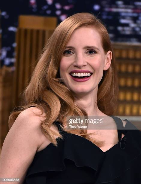 Jessica Chastain Visits 'The Tonight Show Starring Jimmy Fallon' at Rockefeller Center on January 18 2018 in New York City