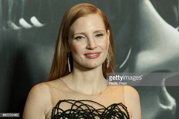 Jessica Chastain wearing dress by Oscar De La Renta attends New York premiere Molly's Game at AMC Loews Lincoln Square