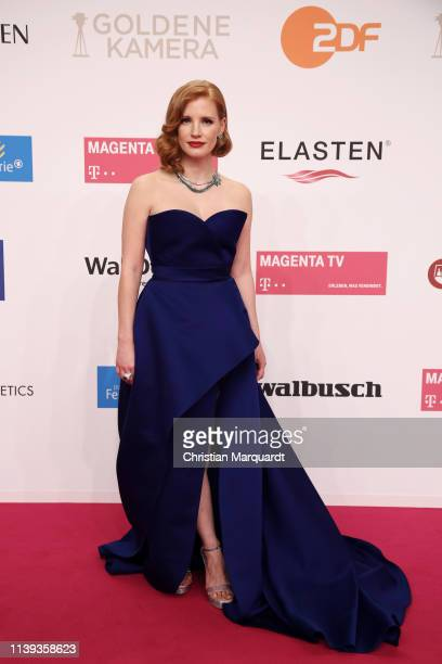Jessica Chastain wearing Piaget High Jewellery attends the Goldene Kamera at Tempelhof Airport on March 30 2019 in Berlin Germany
