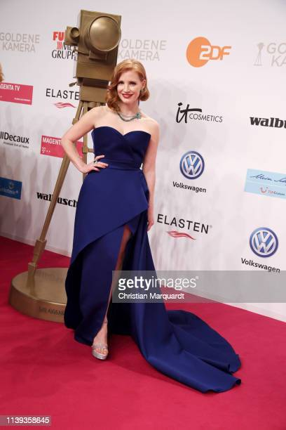 Jessica Chastain, wearing Piaget High Jewellery, attends the Goldene Kamera at Tempelhof Airport on March 30, 2019 in Berlin, Germany.