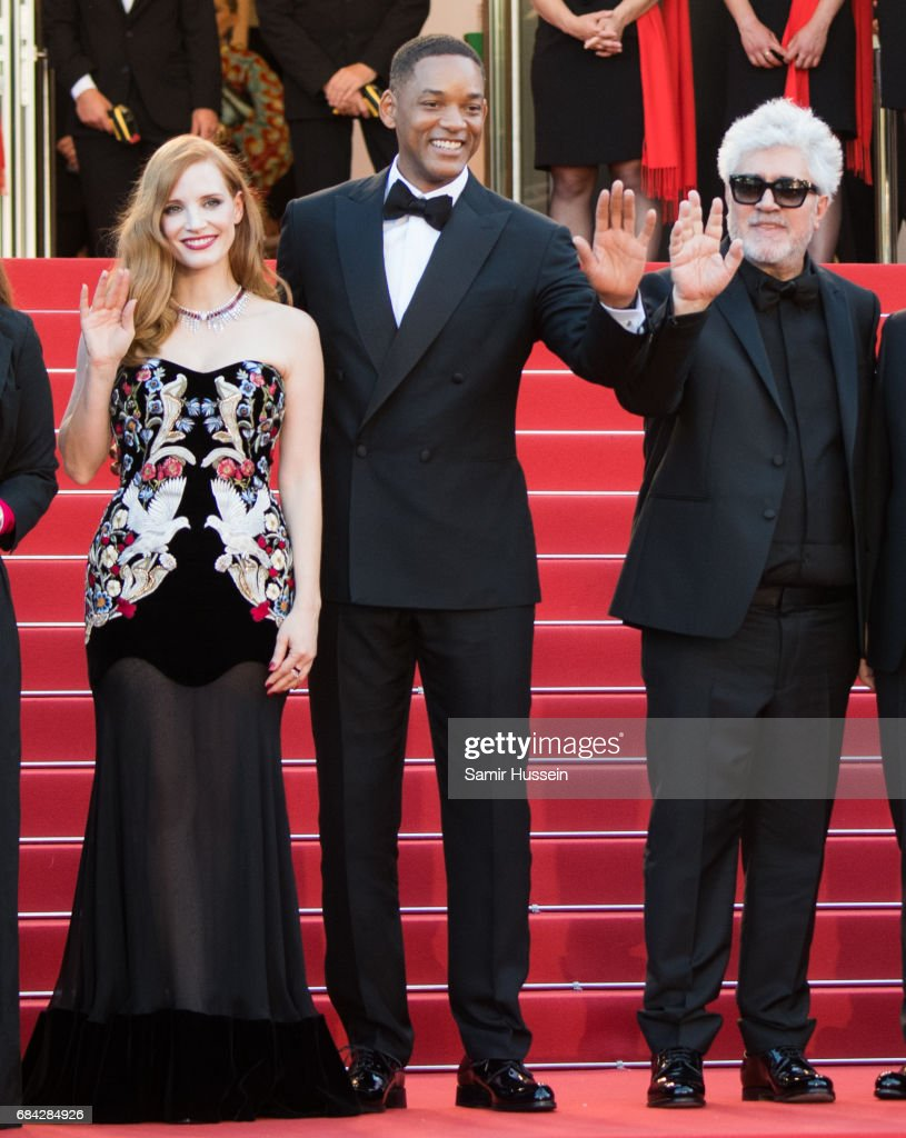 Jessica Chastain, Will Smith and Pedro Almodovar attend the 'Ismael's Ghosts (Les Fantomes d'Ismael)' screening and Opening Gala during the 70th annual Cannes Film Festival at Palais des Festivals on May 17, 2017 in Cannes, France.