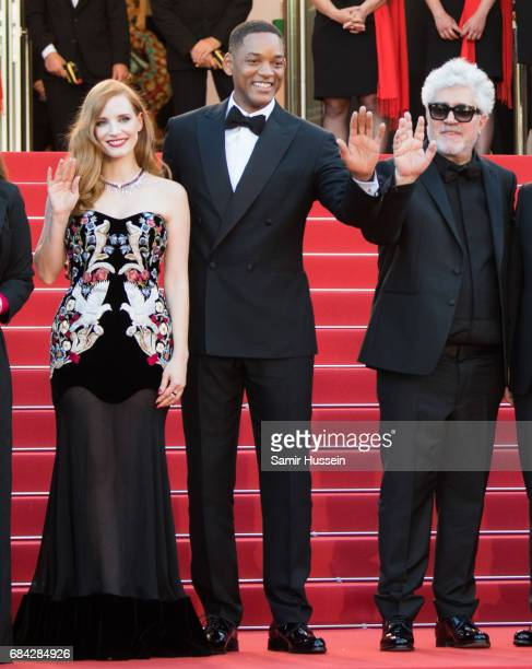 Jessica Chastain Will Smith and Pedro Almodovar attend the 'Ismael's Ghosts ' screening and Opening Gala during the 70th annual Cannes Film Festival...