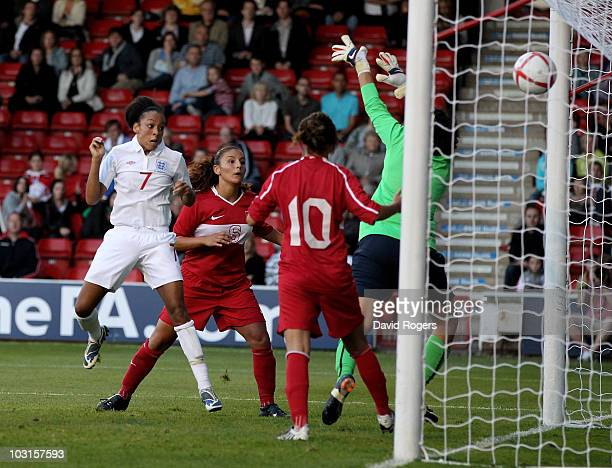 Jessica Clarke of England heads the third goal during the FIFA Womens World Cup Qualifiying match between England and Turkey at the Banks's Stadium...