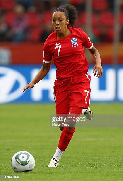 Jessica Clarke of England runs with the ball during the FIFA Women's World Cup 2011 Group B match between New Zealand and England at...