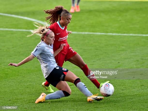 Jessica Clarke of Liverpool Women with Rachel Newborough of Charlton Athletic Women during the FA Women's Championship match between Liverpool Women...
