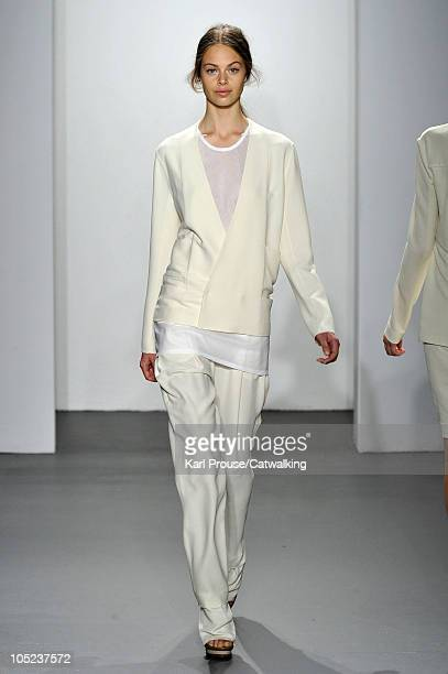 Jessica Clarke walks the runway at the Calvin Klein Spring Summer 2011 fashion show during New York Fashion Week at on September 16 2010 in New York...