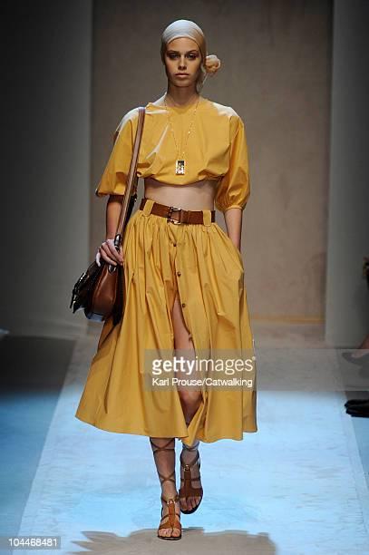 Jessica Clarke walks the runway at the Salvatore Ferragamo Spring Summer 2011 fashion show during Milan Fashion Week at on September 26 2010 in Milan...