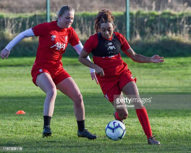 Jessica Clarke with Jemma Purfield of Liverpool during a training session at Solar Campus on January 03 2020 in Wallasey England