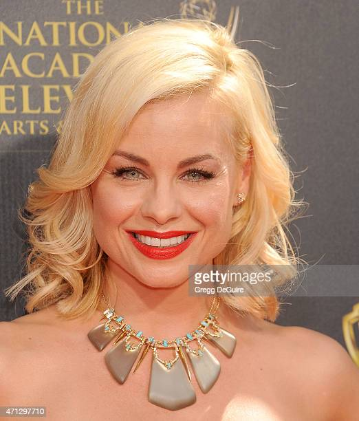 Jessica Collins arrives at the 42nd Annual Daytime Emmy Awards at Warner Bros Studios on April 26 2015 in Burbank California