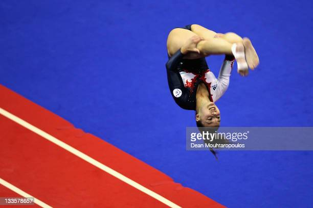 Jessica CourregesClercq of France competes in the Tumbling Womens final during the 28th Trampoline and Tumbling World Championships at National...