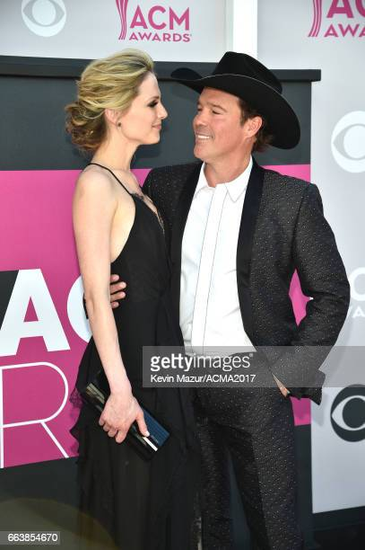 Jessica Craig and recording artist Clay Walker attend the 52nd Academy Of Country Music Awards at Toshiba Plaza on April 2 2017 in Las Vegas Nevada
