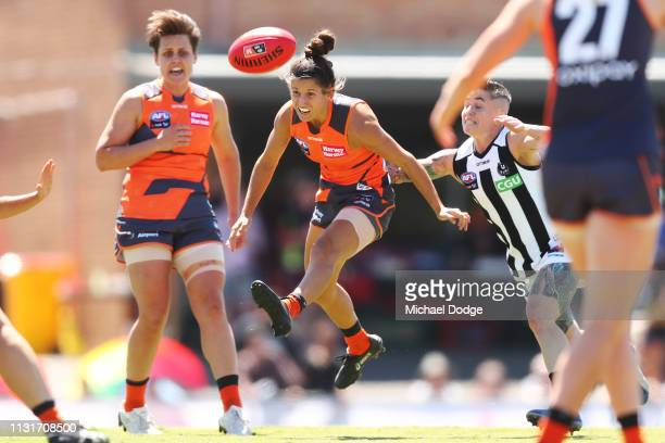 Jessica Dal Pos of GWS kicks the ball during the AFLW Rd 4 match between Collingwood and GWS at Morwekk Recreation Reserve on February 24 2019 in...