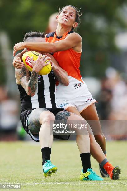Jessica Dal Pos of GWS tackles Cecilia Mcintosh of the Magpies during the round three AFLW match between the Collingwood Magpies and the Greater...