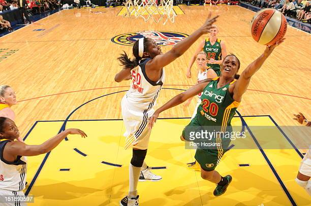 Jessica Davenport of the Indiana Fever battles Camille Little of the Seattle Storm at Banker's Life Fieldhouse on September 12 2012 in Indianapolis...