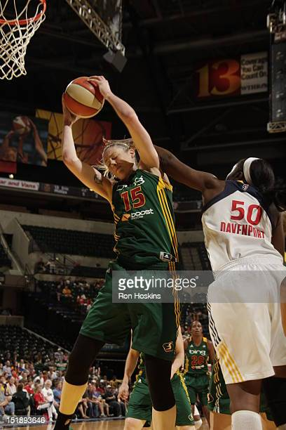 Jessica Davenport of the Indiana Fever battles Lauren Jackson of the Seattle Storm at Banker's Life Fieldhouse on September 12 2012 in Indianapolis...
