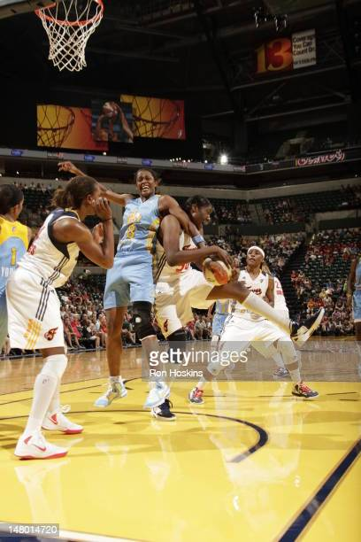 Jessica Davenport of the Indiana Fever battles Swin Cash of the Chicago Sky at Banker Life Fieldhouse on July 7 2012 in Indianapolis Indiana NOTE TO...