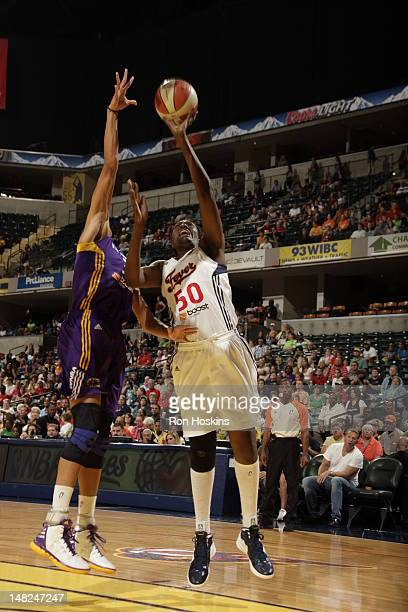 Jessica Davenport of the Indiana Fever shoots against the Los Angeles Sparks during the WNBA game at Banker Life Fieldhouse on July 12 2012 in...