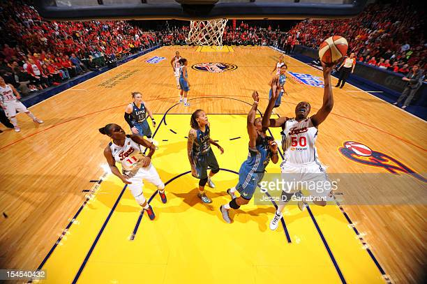 Jessica Davenport of the Indiana Fever shoots against the Minnesota Lynx during Game four of the 2012 WNBA Finals on October 21 2012 at Bankers Life...