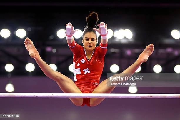 Jessica Diacci of Switzerland competes on the uneven bars in the Women's Team Final and Individual Qualification during day two of the Baku 2015...