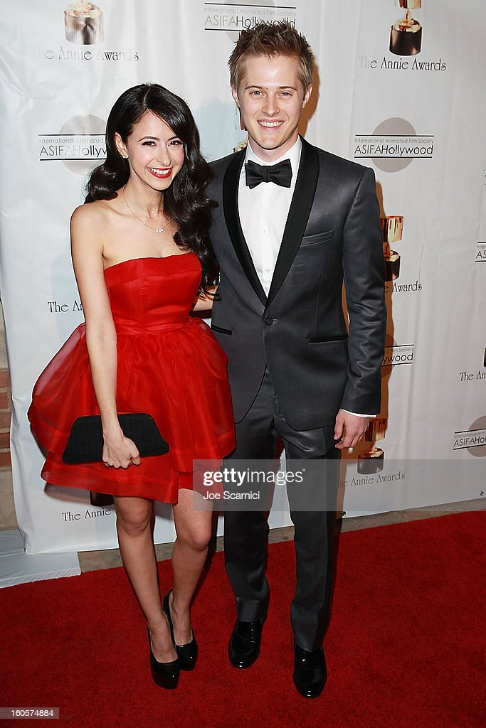 Jessica Dicicco and Lucas Grabeel arrive at the 40th Annual Annie Awards at Royce Hall on the UCLA Campus on February 2, 2013 in Westwood, California.