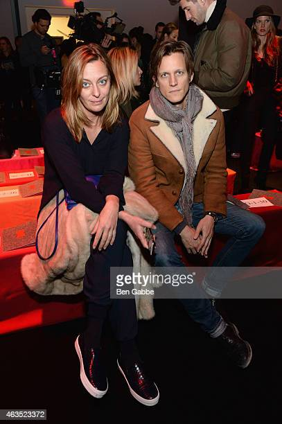 Jessica Diehl and Magnus Berger attend the Diane Von Furstenberg fashion show during MercedesBenz Fashion Week Fall 2015 at Spring Studios on...