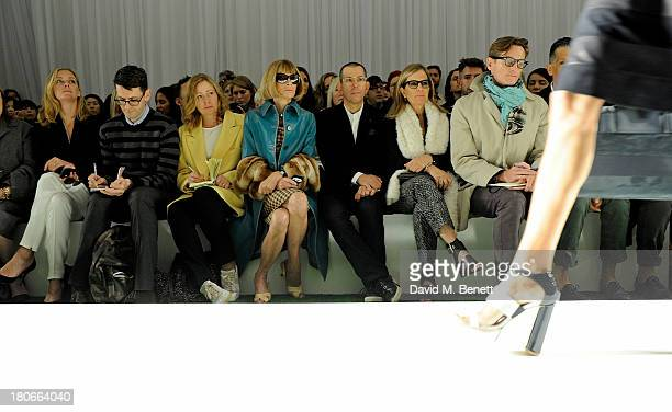 Jessica Diehl Mark Holgate Sarah Mower Anna Wintour Jonathan Newhouse Ronnie Newhouse and Hamish Bowles attend the Mulberry Spring/Summer 2014 show...