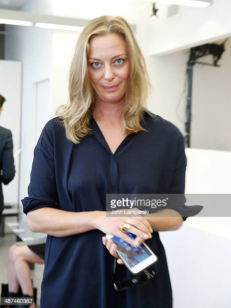 Jessica Diehl of Vanity Fair attends Victor Alfaro collection at the Studio Workshop during Spring 2016 New York Fashion Week at Victor Alfaro Studio...