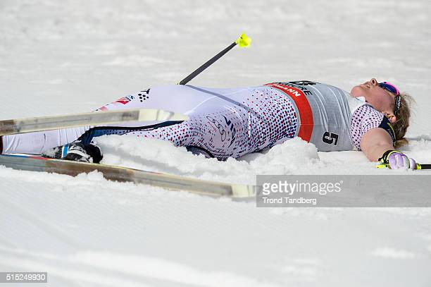 Jessica Diggins after finish line Cross Country Ladies 100 km Pursuit Classic on March 12 2016 in Canmore Canada