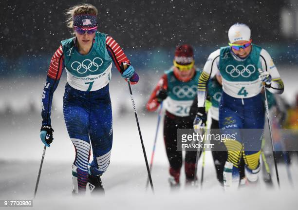 US Jessica Diggins competes during the men's crosscountry individual sprint classic qualifications at the Alpensia cross country ski centre during...
