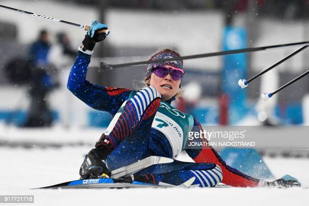 US Jessica Diggins competes during the women's crosscountry individual sprint classic semifinal at the Alpensia cross country ski centre during the...