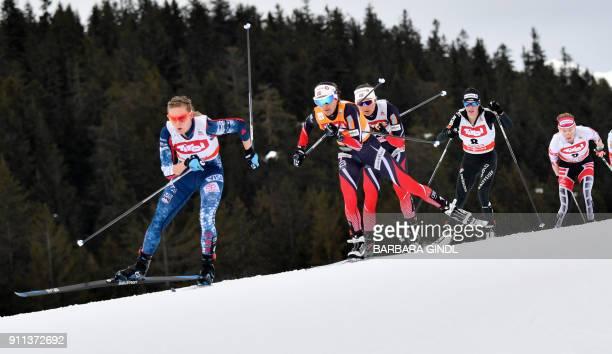Jessica Diggins from US, Heidi Weng of Norway, Ingvild Flugstad Oestberg of Norway, Nathalie Von Siebenthal of Switzerland and Teresa Stadlober from...