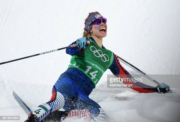 Jessica Diggins of the United States celebrates as she wins gold during the Cross Country Ladies' Team Sprint Free Final on day 12 of the PyeongChang...