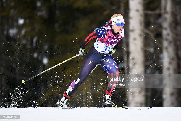 Jessica Diggins of the United States competes in Qualification of the Ladies' Sprint Free during day four of the Sochi 2014 Winter Olympics at Laura...