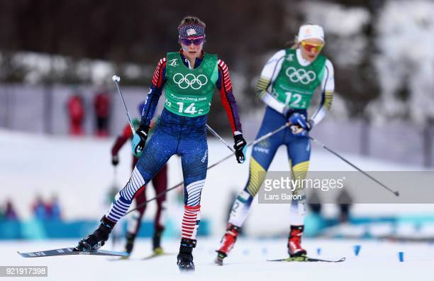 Jessica Diggins of the United States crosses the line during the Cross Country Ladies' Team Sprint Free semi final on day 12 of the PyeongChang 2018...