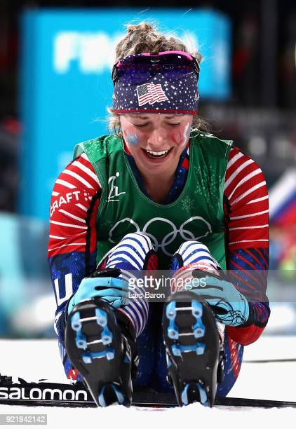 Jessica Diggins of the United States reacts as she wins gold during the Cross Country Ladies' Team Sprint Free Final on day 12 of the PyeongChang...