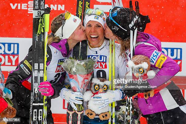 Jessica Diggins of the USA takes 2nd place Charlotte Kalla of Sweden takes 1st place Caitlin Gregg of the USA takes 3rd place during the FIS Nordic...