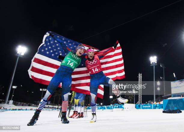 Jessica Diggins of USA and Kikkan Randall of USA celebrates their gold during the women's Cross Country Team Sprint Free Technique at Alpensia...